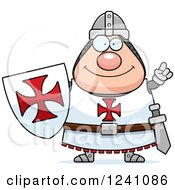 Clipart Of A Smart Chubby Knight Templar With An Idea Royalty Free Vector Illustration