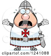Clipart Of A Scared Screaming Chubby Knight Templar Royalty Free Vector Illustration