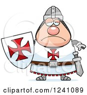 Clipart Of A Depressed Sad Chubby Knight Templar Royalty Free Vector Illustration