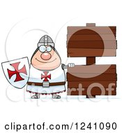 Clipart Of A Chubby Knight Templar By Wooden Signs Royalty Free Vector Illustration