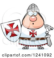 Clipart Of A Surprised Gasping Chubby Knight Templar Royalty Free Vector Illustration