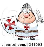 Clipart Of A Happy Chubby Knight Templar Holding A Sword And Shield Royalty Free Vector Illustration