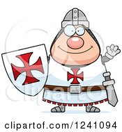 Clipart Of A Friendly Waving Chubby Knight Templar Royalty Free Vector Illustration