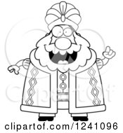 Clipart Of A Black And White Chubby Sultan With An Idea Royalty Free Vector Illustration by Cory Thoman
