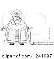 Clipart Of A Black And White Chubby Sultan With A Scroll Sign Royalty Free Vector Illustration by Cory Thoman