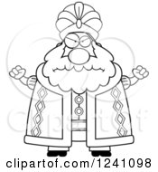Clipart Of A Black And White Mad Chubby Sultan Waving His Fists Royalty Free Vector Illustration by Cory Thoman