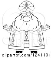 Clipart Of A Black And White Careless Shrugging Chubby Sultan Royalty Free Vector Illustration by Cory Thoman