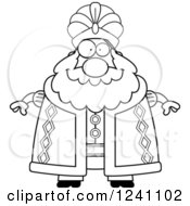 Clipart Of A Black And White Happy Chubby Sultan Royalty Free Vector Illustration by Cory Thoman