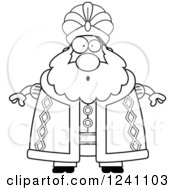 Clipart Of A Black And White Surprised Gasping Chubby Sultan Royalty Free Vector Illustration by Cory Thoman