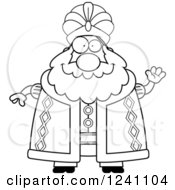 Clipart Of A Black And White Friendly Waving Chubby Sultan Royalty Free Vector Illustration by Cory Thoman