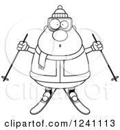 Clipart Of A Black And White Surprised Gasping Chubby Male Skier Royalty Free Vector Illustration