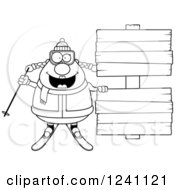 Clipart Of A Black And White Chubby Female Skier With Wooden Signs Royalty Free Vector Illustration by Cory Thoman