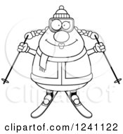 Clipart Of A Black And White Happy Chubby Female Skier Royalty Free Vector Illustration by Cory Thoman