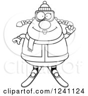Clipart Of A Black And White Friendly Waving Chubby Female Skier Royalty Free Vector Illustration by Cory Thoman