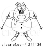 Clipart Of A Black And White Happy Skiing Christmas Snowman Holding Out Poles Royalty Free Vector Illustration
