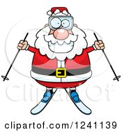 Clipart Of A Happy Skiing Santa Holding Out Poles Royalty Free Vector Illustration