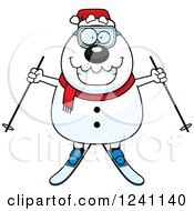 Clipart Of A Happy Skiing Christmas Snowman Holding Out Poles Royalty Free Vector Illustration