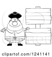 Clipart Of A Black And White Chubby Colonial Man By Wooden Signs Royalty Free Vector Illustration