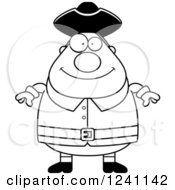 Clipart Of A Black And White Happy Chubby Colonial Man Royalty Free Vector Illustration