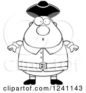Clipart Of A Black And White Surprised Gasping Chubby Colonial Man Royalty Free Vector Illustration