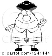 Clipart Of A Black And White Friendly Waving Chubby Colonial Man Royalty Free Vector Illustration