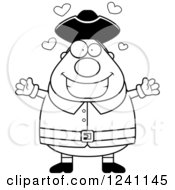 Clipart Of A Black And White Chubby Colonial Man With Open Arms And Hearts Royalty Free Vector Illustration