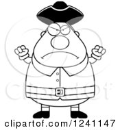 Clipart Of A Black And White Mad Chubby Colonial Man Waving His Fists Royalty Free Vector Illustration