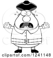 Clipart Of A Black And White Scared Screaming Chubby Colonial Man Royalty Free Vector Illustration