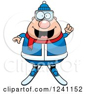 Clipart Of A Smart Chubby Male Skier With An Idea Royalty Free Vector Illustration by Cory Thoman