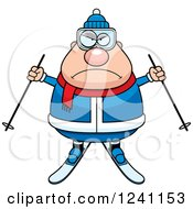 Clipart Of A Mad Chubby Male Skier Royalty Free Vector Illustration by Cory Thoman