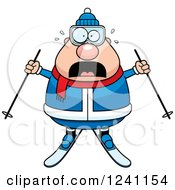 Clipart Of A Scared Screaming Chubby Male Skier Royalty Free Vector Illustration by Cory Thoman