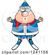 Clipart Of A Careless Shrugging Chubby Male Skier Royalty Free Vector Illustration
