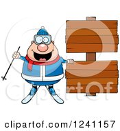 Clipart Of A Chubby Male Skier With Wooden Signs Royalty Free Vector Illustration by Cory Thoman