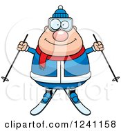 Clipart Of A Happy Chubby Male Skier Royalty Free Vector Illustration