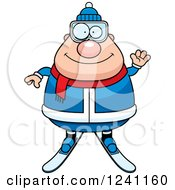 Clipart Of A Friendly Waving Chubby Male Skier Royalty Free Vector Illustration by Cory Thoman