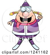 Clipart Of A Smart Chubby Female Skier With An Idea Royalty Free Vector Illustration by Cory Thoman