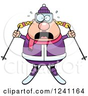 Clipart Of A Scared Screaming Chubby Female Skier Royalty Free Vector Illustration by Cory Thoman