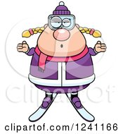 Clipart Of A Careless Shrugging Chubby Female Skier Royalty Free Vector Illustration