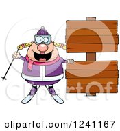 Clipart Of A Chubby Female Skier With Wooden Signs Royalty Free Vector Illustration
