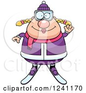 Clipart Of A Friendly Waving Chubby Female Skier Royalty Free Vector Illustration by Cory Thoman