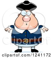 Clipart Of A Surprised Gasping Chubby Colonial Man Royalty Free Vector Illustration