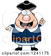 Clipart Of A Smart Chubby Colonial Man With An Idea Royalty Free Vector Illustration
