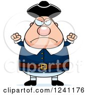 Clipart Of A Mad Chubby Colonial Man Waving His Fists Royalty Free Vector Illustration by Cory Thoman