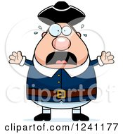 Clipart Of A Scared Screaming Chubby Colonial Man Royalty Free Vector Illustration