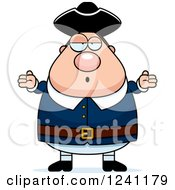 Clipart Of A Careless Shrugging Chubby Colonial Man Royalty Free Vector Illustration
