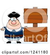 Clipart Of A Chubby Colonial Man By Wooden Signs Royalty Free Vector Illustration