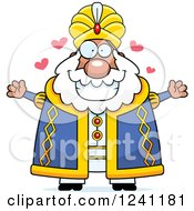 Clipart Of A Chubby Sultan With Open Arms And Hearts Royalty Free Vector Illustration by Cory Thoman