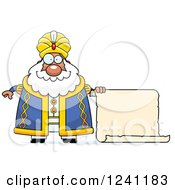 Clipart Of A Chubby Sultan With A Scroll Sign Royalty Free Vector Illustration by Cory Thoman