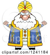 Clipart Of A Mad Chubby Sultan Waving His Fists Royalty Free Vector Illustration by Cory Thoman