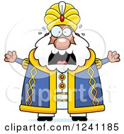Clipart Of A Scared Screaming Chubby Sultan Royalty Free Vector Illustration by Cory Thoman